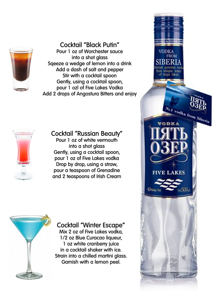 5 lakes vodka cocktails for Good cocktails with vodka