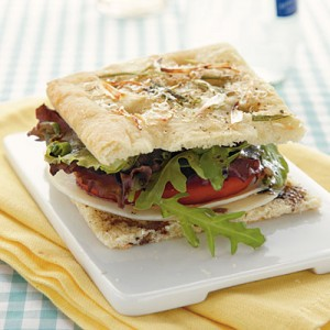 Focaccia Sandwich with Spring Greens