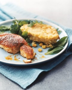 Blackened Striped Bass With Corn Spoon Bread