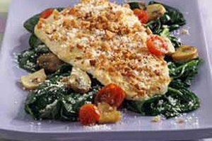 Flounder Amandine over Spinach