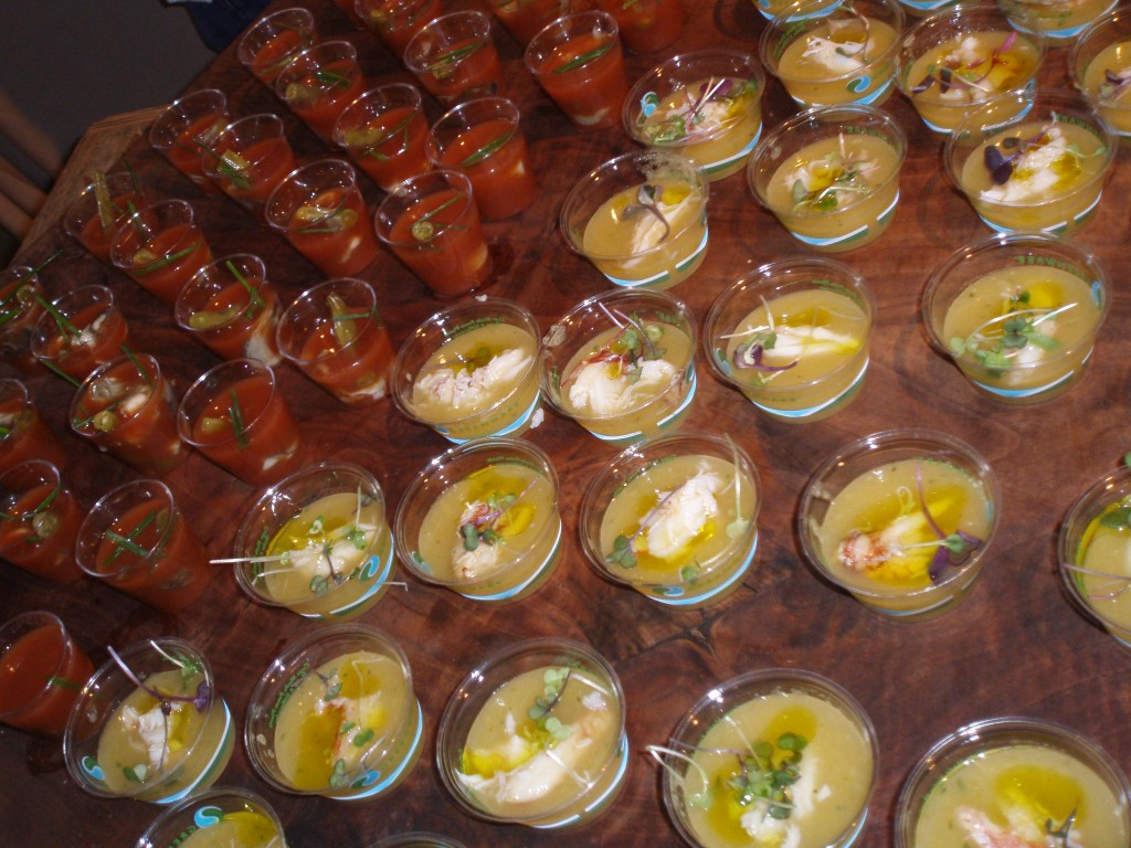 Bloody Mary Oyster Shooters and Crab & Melon Gazpacho