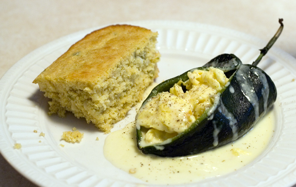 Scrambled Egg-Stuffed Poblano Chiles With Spicy Cheese Sauce