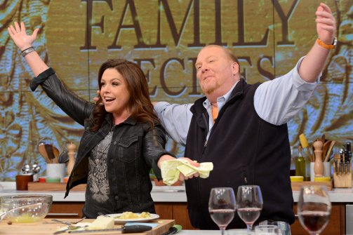 "Rachael Ray with Mario Batali on May 8, 2013 on ABC's ""The Chew."" (Lorenzo Bevilaqua/ABC, via Getty)"