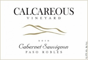 2010 Calcareous Cabernet Sauvignon, Paso Robles outline