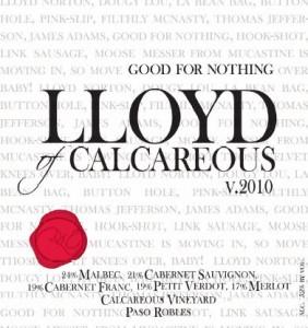 2010 Calcareous Lloyd Bordeaux Blend, Paso Robles