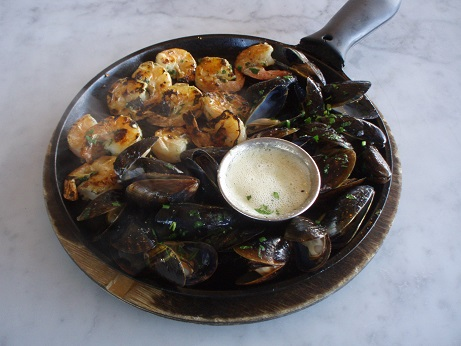 Their Hot Iron Skillet with Roasted Mussels and Shrimp