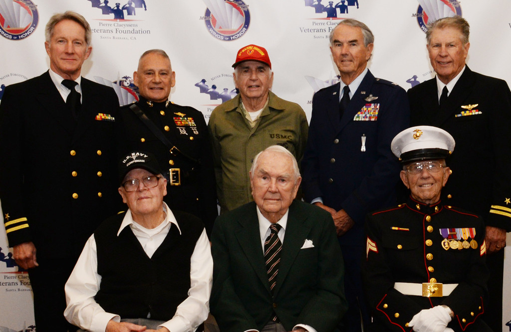 Honorees and their presenters are all present and accounted for here L to R: Front row: Ken Morehouse (USN), Bob Beckham(USMC) and Ben Bellefeuille(USMC) Back row: Steve Penner(USN), *Fred Lopez(USMC), Joe Hale(USMC), *Phil Conran(USAF), *John Blankenship(USN).   * = Board for PCVF - Phil is President, John's title is Co-Founder/Executive Director