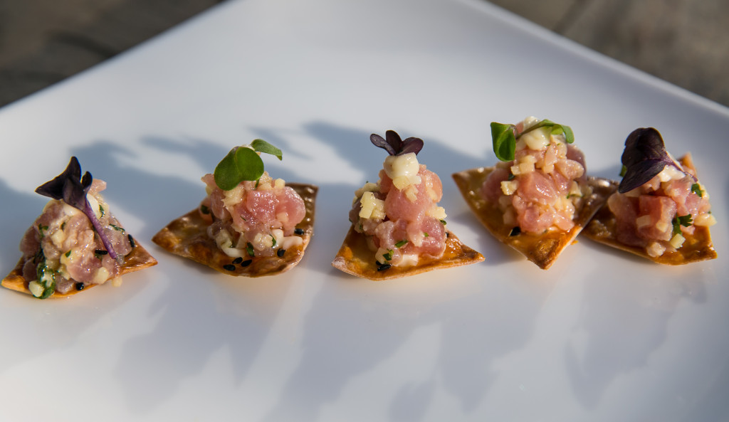 Gingered Ahi tuna tartar on wonton chip round with lemongrass aioli1